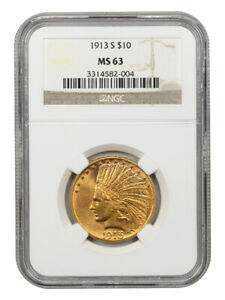 1913-S $10 NGC MS63 - Scarce S-Mint Indian Eagle - Indian Eagle - Gold Coin