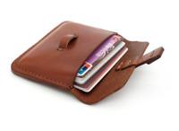 men women wallet purse cow Leather Card bag Case ID bifold customize brown Z754