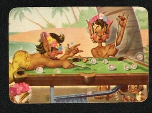 Swap Card Genuine US/ American Litho Blank Back Funny Elves Playing Snooker.