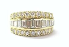 18Kt Round & Baguette Diamond Cluster 5-Row Jewelry Ring 2.14CT