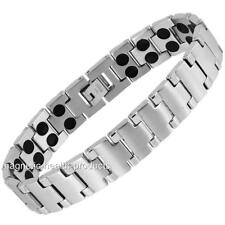 MENS STAINLESS STEEL MAGNETIC BRACELET DOUBLE MAGNETS - ARTHRITIS PAIN RELIEF 56