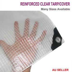 Reinforced Grid Clear Tarp Screen Tarpaulin Waterproof Cover Rain Shed Sheet