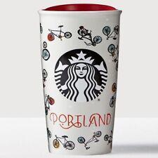 Starbucks PORTLAND Double Wall Ceramic Traveler Mug 12oz Tumbler Bikes