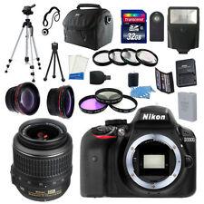 Nikon D3300 Digital SLR DSLR Camera +3 Lens 18-55mm +  32GB KIT & More Brand New