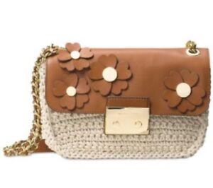 Michael Kors Flora Applique Sloan Large Chain Shoulder Bag Acorn Natural $328