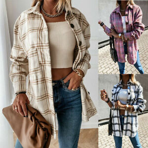 Womens Check Fleece Casual Jacket Shacket Tops Buttons Shirt Coat Baggy Tunic AU