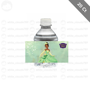 """20 Tiana Princess and the Frog Water Bottle Label 2"""" x 4"""" Party Favor Treat Bag"""