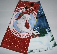 "Christmas Kitchen Towel Set 16.5""X26""  MERRY CHRISTMAS / NORTH POLE 2 Pk"