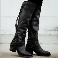 Details about  /Womens New Fashion Patent Leather Buckle Strap Knee High Riding Boots Shoes MAQQ