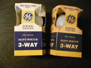 2 Vintage GE 3-Way Soft-White Bulbs 50-200-250, New Old Stock