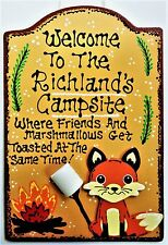 Welcome Personalize Name Fox Welcome Campsite Camp Sign Camping Camper Plaque