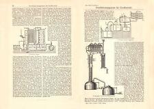 Destillationsapparate historischer Druck Holzstich ca. 1903 antike Bildtafel
