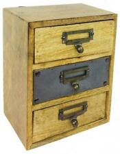 Small Wall Mountable Cabinet With 3 Drawers Wooden Little Desk Top Storage Box