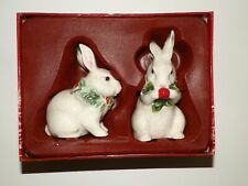 Fitz & Floyd Town & Country Christmas Salt & Pepper Bunnies Rabbits Easter ?