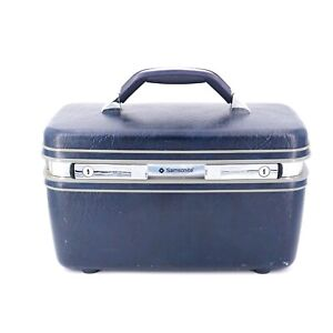 Vintage Samsonite Profile II Cosmetic Case Luggage Blue with Keys and Tray