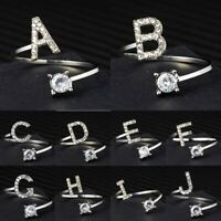 Fashion Letter Crystal Adjustable Size Finger Ring Jewelry Wedding Party Gifts