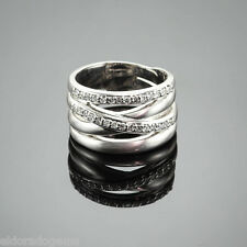 HIGH END 1.50 CT. DIAMOND UNISEX X RING WIDE BAND 18K WHITE GOLD SIZE US10.25