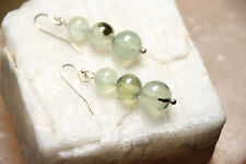 Prehnite Natural Green Gemstone 8,9,10mm Ball Earrings 925 Sterling Silver Hooks