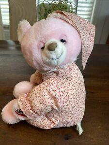 "Vintage Sleepy Time Bear Pink Plush 16"" Pajamas RARE! Bedtime Pal Plush Bear"