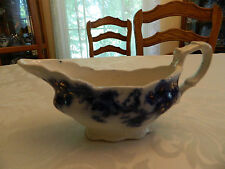 "Flow Blue Collector New Wharf ""Sydney"" Gravy Boat"