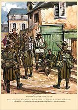 PLANCHE UNIFORMS PRINT WWII Infanterie Française Tenue de Campagne avec Havresac