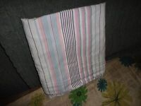 VINTAGE NAUTICA GREENWICH PINK BLUE STRIPES TWIN FLAT SHEET GIRLS