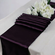 "Satin Table Runner lines venue party decoration 20 pcs Wedding 12""X108"" - Plum"