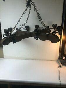 VTG lamp light Wrought Iron wood Spanish western Hanging ceiling light