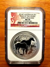 2014-P 1 OZ AUSTRALIA SILVER YEAR OF THE HORSE $1  NGC MS70