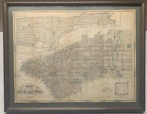 Antique 1852 DT Valentine's MAP of the CITY OF NEW YORK - Framed MANHATTAN NYC