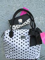 Betsey Johnson 2 Piece Set Nylon Tote Bag W/Envelope Wrislet Black White Dot New
