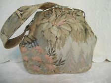 Vintage Tapestry Kiss Lock Metal Frame Small Evening Purse Lined Handbag Fabric