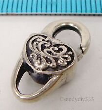 1x OXIDIZED STERLING SILVER HEART HEAVY LOBSTER TRIGGER CLASP BEAD 18mm #1824