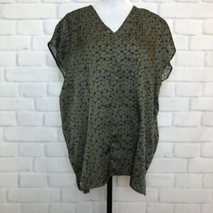 Eileen FIsher Olive Green Silk Cotton Blouse Size M
