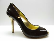 Guess Brown Patent Leather Gold Cork Peep Toe Pumps 10M 10 NEW MSRP $99.