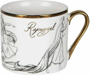 DISNEY COLLECTABLE RAPUNZEL FROM TANGLED  GOLD RIM MUG FROM WIDDOP & CO