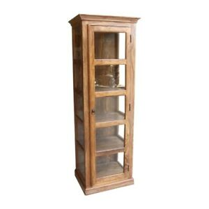 Classic Evergreen Sheesham Wood Rosewood Cabinet With Glass Single Door Natural