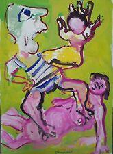 Bernard DAMIANO(1926-2000)Gouache sur papier, Composition avec personnages P1672