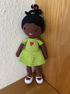 Black Doll Handmade Crochet Amigurumi Soft Toy 100% Cotton New