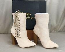 Olivia Ferguerson Roxy Women's Mid Calf Ankle Nude Suede Lace Up Boots SZ 5.5
