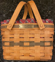 Longaberger 1992 Green ChristmasSeason's Greetings Basket Fabric Liner Protectr