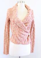 Free People Pink Beige / Yellow Marled Knit Cropped Cardigan Sweater Size M Wool