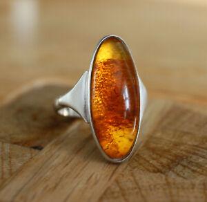 Vintage Baltic Amber Sterling Silver Ring Natural Gemstone