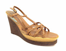 COLE HAAN Size 8 Brown Strappy Wedge Sandals Shoes Nike Air