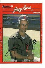 JOEY CORA SAN DIEGO PADRES SIGNED AUTO 1990 DONRUSS CARD #538 W/COA