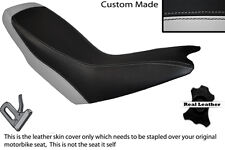 LIGHT GREY & BLACK CUSTOM FITS APRILIA ETX 125 DUAL LEATHER SEAT COVER ONLY