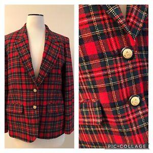 Vintage PENDLETON red green plaid gold button blazer jacket 10 USA Holiday