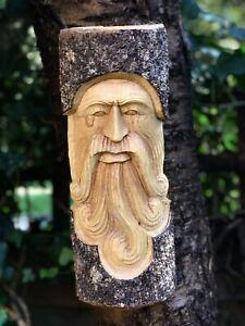 Green Man Wooden Carving Half Tree Log 30cm Hand Made Fair Trade Garden/Interior