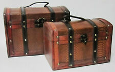 2 Set Classic Vintage Style Faux Crocodile Leather Trunk Wooden Storage Boxes