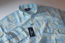 Vineyard Vines Tucker Shirt Longshore PLaid Surf Blue LS New Slim Fit Large L